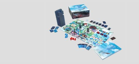 3D render of all components of the Sarah's Vision board game