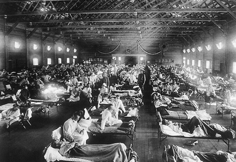 Emergency camp around 1918 to fight the flu pandemic.