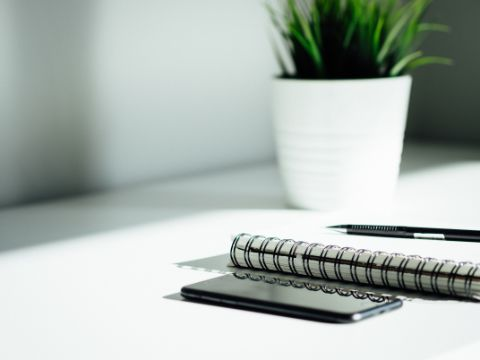 Smartphone, pen, writing pad and plant on a desk