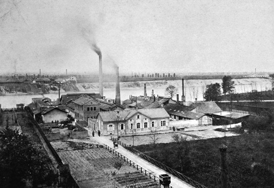 The site of the later Gesellschaft für Chemische Industrie in Basel am Rhein, around 1879.